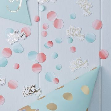 Table Confetti 'Happy Birthday' gold, pink & mint green sprinkles